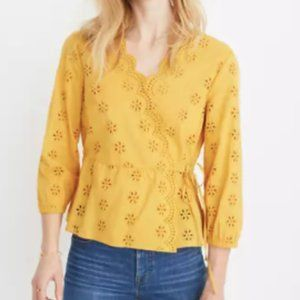 Madewell I Scalloped Eyelet Wrap Blouse Medium